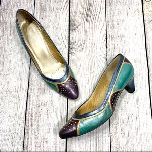 Vintage Selby Multicolored Studded Leather Pumps